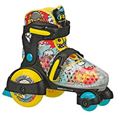 "Outgrow no more! Adjust up to 4 sizes at the twist of a lever. Small (7J-11J) or Medium (11J-2) Learn to skate with the rugged and fun ""tractor skate"" design Strong and supportive boot with extra-cushy padded liner for comfort and control Low center ..."