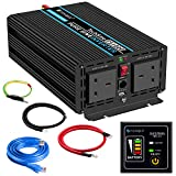 Power Inverter Pure Sine Wave-1000 Watt 12V DC to 230V/240V AC Converter-2AC Outlets Car Inverter with One USB Port-5 Meter Remote Control And Two Cooling Fans-Peak Power 2000 Watt