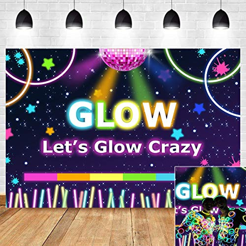 Let's Glow Crazy Party Photography Backdrop Retro Disco for Youth Hip Hop Birthday Photo Booth Studio Props Decoration Teens Neon Party Banner Supplies 5x3ft Photo Background