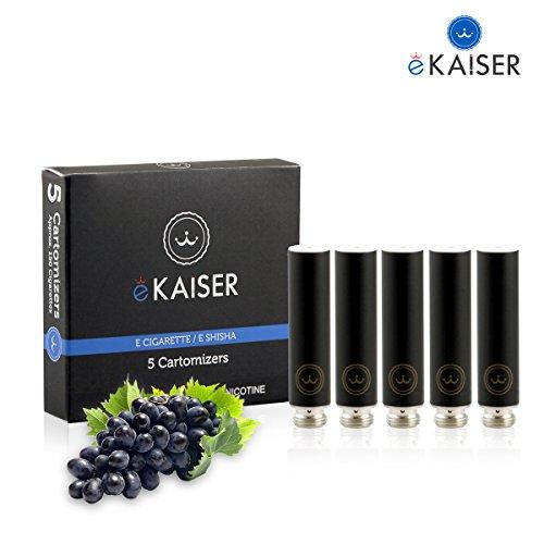 E-Zigarette - E-Liquid 5er Pack Schwarz Cartomizer - Traube-Geschmack - E-Shisha - für eKaiser Wiederaufladbar E-Shisha Zigarette