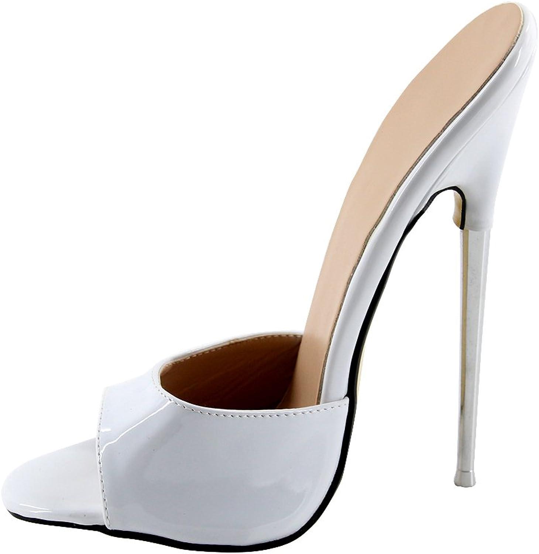 Wonderheel 7  stiletto metal heel slip on women sandals white shiny sexy fetish sandals