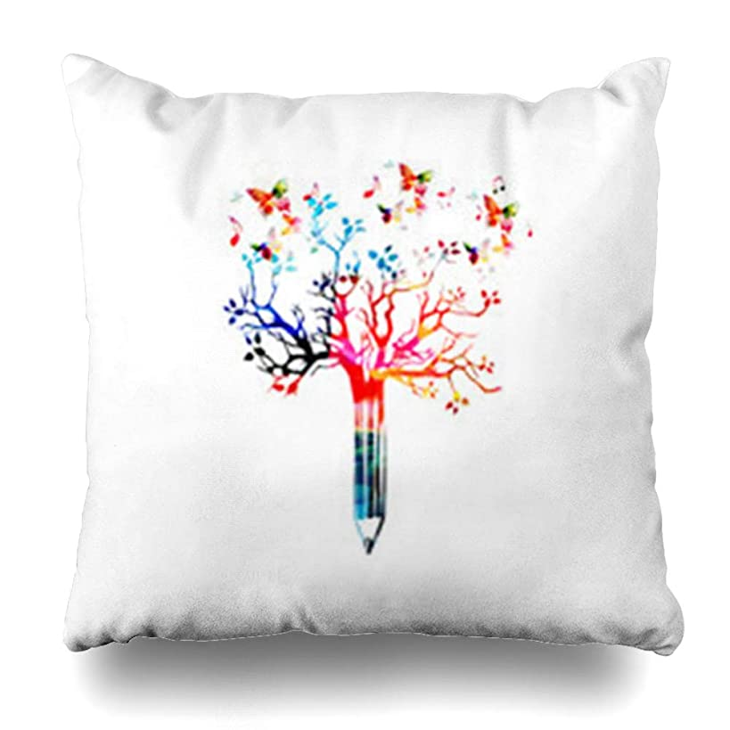 ArtsDecor Throw Pillow Covers Pencil Tree Butterflies for Story Creative Writing Creation Storytelling Blogging Nature Classroom Home Decor Cushion Square Size 16