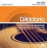 D'Addario Cordes en Bronze Phosphoreux pour Guitare Acoustique avec Revêtement D'Addario EJ15 Extra Light 10-47 1-Jeux