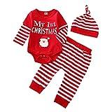 Il mio primo Natale Abiti Bambino Neonata Manica Lunga Tutine Tuta Babbo Natale Pantaloni Cappello Autunno Inverno Pigiama Vestiti Il mio primo Natale B 6 mesi