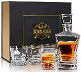 KANARS Carafe Whisky, 800ml Bouteille avec 4X 260ml Verre à Whiskey, Décanter Cristal, Lot de 5 Pièces, Belle Boîte Cadea