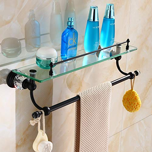 YUTU Luxury Brass Glass Shelf European Bathroom Shelves with Towel Bar Black Wall Mounted Cosmetic Holder with Crystal
