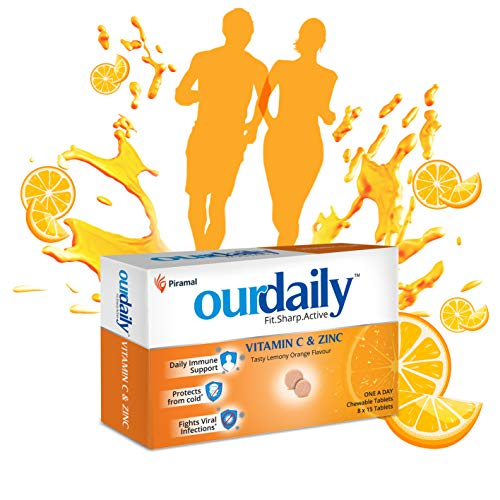 Ourdaily vitamin c(500mg) & zinc chewable tablets-builds immunity daily against viruses and cold-120 tablets-tasty lemony orange flavour
