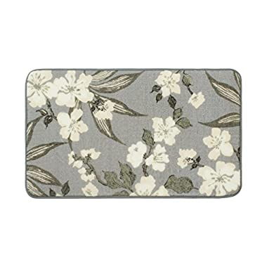 Laura Ashley Madeline High Definition Printed Memory Foam 20 in. x 34 in. Accent Rug in Dove Grey