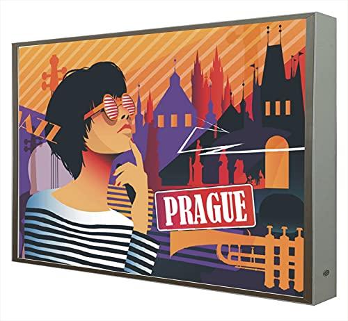 Cuadro con Marco Madera Lacada en Blanco Iluminado con Luz Leds Serie Pop Art: Prague