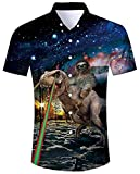 ALISISTER Tropical Hawaiian Shirt Men 3D Vacation Shirts Sloth Dinosaur Blouse Button Down Short Sleeve Party Aloha Travel Swimwear M