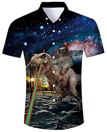 ALISISTER Hawaiian Dinosaur Shirt Men Tropical Ugly Animal Sloth Tshirt Short Sleeve Blouse Button Dress Collar Party Holiday Summer Apparel XL