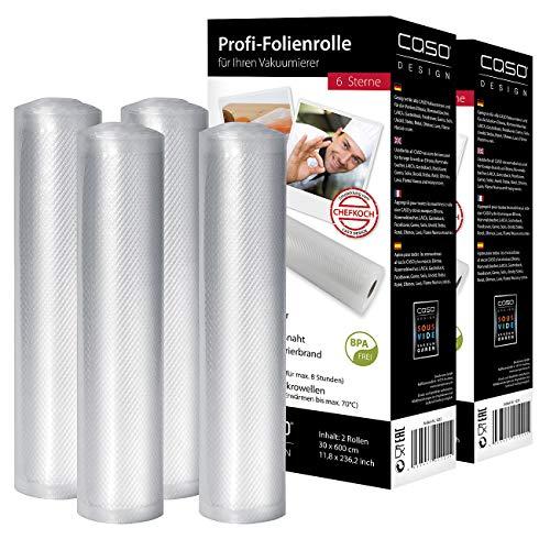 CASO DESIGN 4 Profi-Folienrollen, 30 x 600 cm, für Balken-Vakuumierer