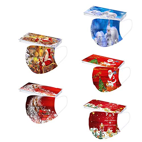 UOWEG 50 Stück 3 Lagig Einmal-Mundschutz für Damen Herren, Erwachsene Mündschutz mit Motiv Weihnachten Bunt Mund-Nasen-Schutz Maske Bandana Halstuch