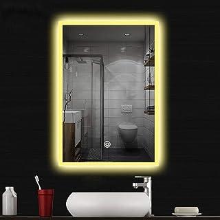 Miroir de salle de bain lumineux LED avec horloge numérique 50 x 70 cm Miroir de salle de bain avec éclairage blanc froid ...