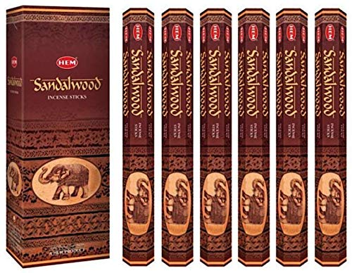 Incense Sandalwood, 120 Sticks in a Six Pack. Hem Brand, Hand Rolled in India.