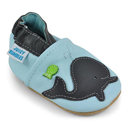 Juicy Bumbles - Weicher Leder Lauflernschuhe Krabbelschuhe Babyhausschuhe mit Wildledersohlen. Junge Mädchen Kleinkind- Gr. 12-18 Monate (Größe 22/23)- Wal