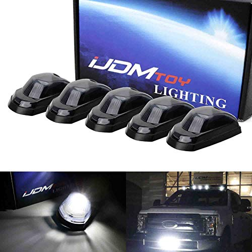 iJDMTOY 5pc Smoked Lens Xenon White Full LED Cab Roof Marker Light Kit Compatible With 2017-up Ford F250 F350 F450 F550 Super Duty (Fit the Trucks Initially Without OEM Cab Roof Lamps)