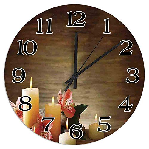 8 NBNWDHI 12 Inch Round Wooden Wall Clock,Spa Composition with Many Candles Wellbeing Unity and Neutrality Icons Calm Happiness Home Clock,Battery Operated,Wall for The Kitchen,Living Room,Office