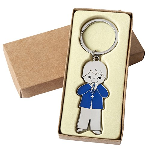 mopec sleutelhanger voor Communion Boy met jas, metaal, zilver, 0,5 x 2,5 x 6 cm, 2 stuks
