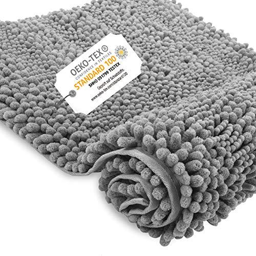Bear family Badematte Badvorleger rutschfest Badezimmerteppich 80x50 cm Anthrazit - WC Badteppich Flauschige Bodenmatte für Dusche, Badewanne und Toilette - für Fußbodenheizung geeignet