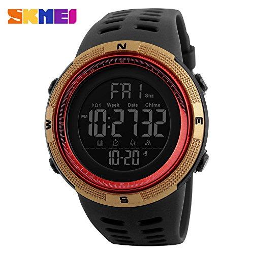 Reloj Deportivo Luminoso Impermeable Digital para Deportes Al Aire Libre con Cronógrafo para Hombre Círculo Rojo de Concha de Oro