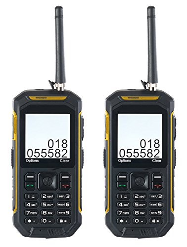 Simvalley Mobile Handy Funkgerätesets: Dual-SIM-Outdoor-Handy mit Walkie-Talkie-Funktion, 2er-Set (Mobilfunk-PMR Handy)