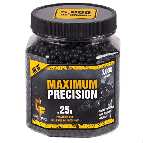 GameFace 25GPB5J Maximum Precision Heavy-Weight .25-Gram Black Airsoft BBs (5000-Count)