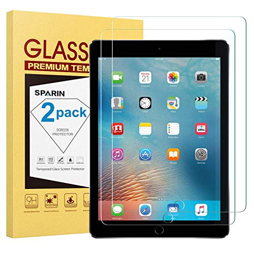 SPARIN [2 Pack Screen Protector for 9.7 inch iPad 6th Generation (2018/2017) / iPad Pro 9.7 - Tempered Glass/Apple Pencil Compatible/Scratch Resistant