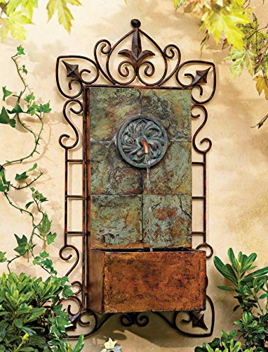 John Timberland Ibizi Rustic Outdoor Wall Water Fountain with Light LED 33' High Medallion for Yard Garden Patio Deck Home Hallway Entryway