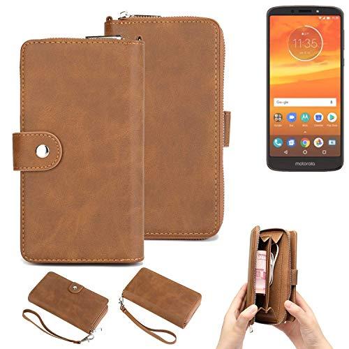 K-S-Trade® Handy-Schutz-Hülle Für -Motorola Moto E5 Plus Dual-SIM- Portemonnee Tasche Wallet-Case Bookstyle-Etui Braun (1x)