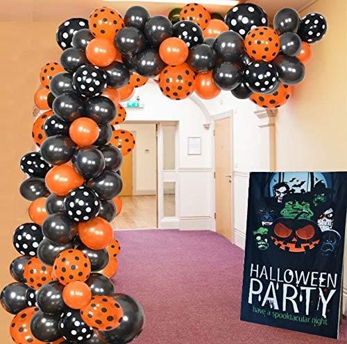 Kubert 102 Pack Halloween Balloon Arch Garland Kit - Black Orange Balloons with Black Orange Polka Dots Balloons for Kids Halloween Theme Party Background Classroom Decorations