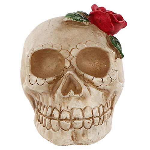 NUOBESTY Estátua de caveira de Halloween com luz LED Dia dos Mortos e caveira de resina para decoração de mesa de bar de casa assombrada (estilo 2)