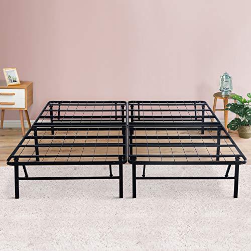 PrimaSleep 14 inch Dura Metal Comfort Base, Platform Bed Frame,Steel Slat Support, Queen, Black