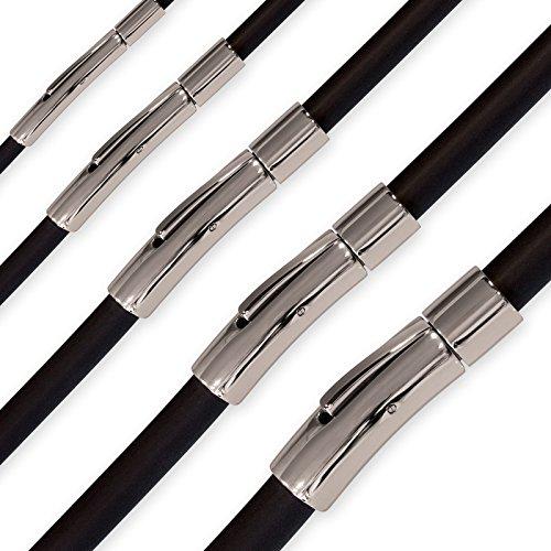 Fly Style Kautschuk-Kette oder Armband - Schwarze Halskette mit Edelstahl-Verschluß, Längen:ca. 55.0 cm, Stärke:3 mm