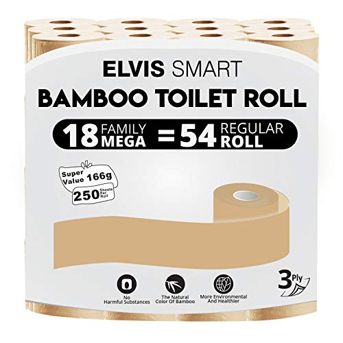 Elvissmart 3-Ply Super Soft Bamboo Toilet Paper, 18 Family Mega= 54 Regular Roll, 250 Sheets/Roll-4500 Total Bath Tissue