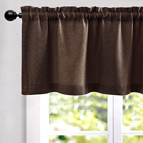 "Brown Valance for Living Room Linen Textured Room Darkening Window Treatments for Kitchen Rod Pocket Valance 1 Panel 16"" L"