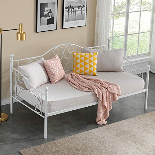 VECELO Daybed Frame Twin Size Multifunctional Metal Platform with Headboard Style,Mattress Foundation/Children Bed Sofa for Guest Living Room, Victorian White