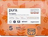 Pura - Pannolini Premium per Bambini, Taglia 5 (Junior più di 12 Kg), 5 Confezioni da 25 Pannolini (125 Pannolini), Fibre Vegetali Naturali Certificate Fsc, Ecocompatibili