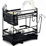 Glotoch Dish Drying Rack, Matte Black Stainless Steel 2-Tier Dish Rack with Utensil Holder, Knife Holder, Cup Holder & Cutting Board Holder and Drain Tray for Kitchen Drainer 14.5 x 14 x 9.5 Inches