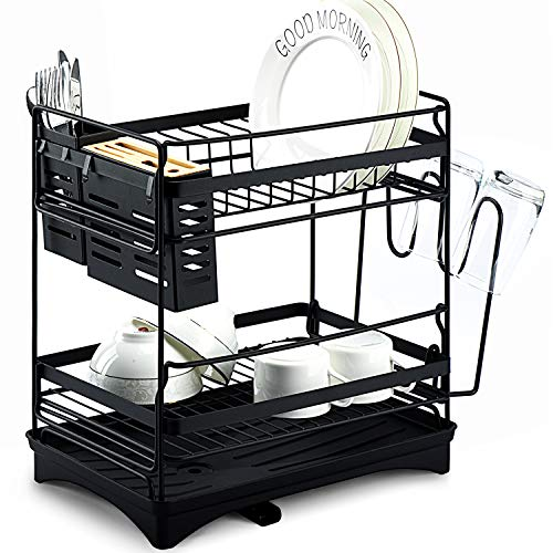 """Glotoch Dish Drying Rack, Stainless Steel 2 -Tier Dish Rack with Utensil Holder,knife holder,Cup Holder&Cutting Board Holder and Drainboard set for Kitchen Counter,Dish Drainer 14 x 9.5 x 14.5"""" Black"""