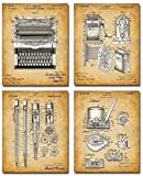 Original Writer Patent Prints - Set of Four Photos (8x10) Unframed - Makes a Great Gift Under $20 for Authors or Literature Lovers