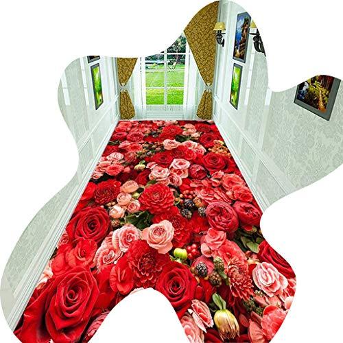 BXY Korridor Teppich, Blumenform Muster Kann Geschnitten Werden 3D Bodenmatte 0,6CM Dicke Maschinenweberei Geeignet Für Home Decoration Treppen Wohnzimmer Leicht Zu Reinigen,1x2m