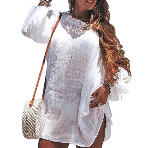 Sannysis Damen Strandkleid Bikini Cover up 2019 Sommer Lose Baumwolle V-Ausschnitt Tunika Langes Shirt Überwurf Sommerkleid Lose Tops