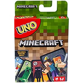 UNO Minecraft Card Game 3 ​Now Minecraft lovers can play a special version of UNO! ​Same as Basic UNO but features Minecraft characters and includes special Creeper rule card. Draw this card and the other players have to draw three more cards from the pile! ​The goal is to get rid of all the cards in your hand.