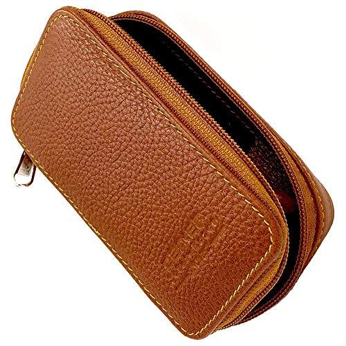 Parker Safety Razor Echtes Leder zweiseitige Sicherheits-Rasiermesser mit Reißverschluss Reisetasche mit Fach für Blades auch - Vom Sattel Braun
