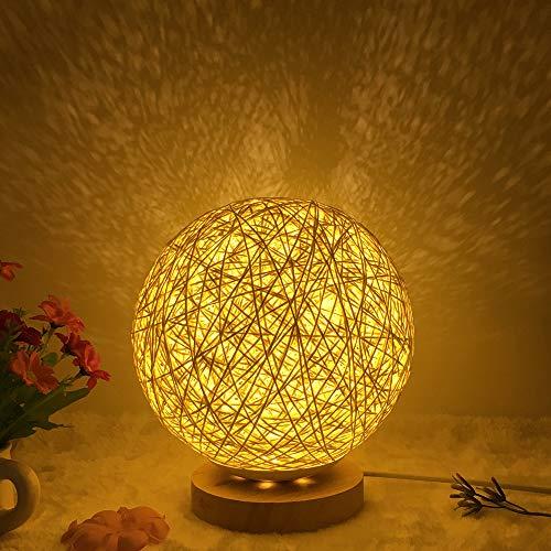 Rattan Nachttischlampe Tischlampe Holz Rattan Kugel LED Tischlampe USB Schreibtischlampe Mond Lampe LED Dekorative Nachttischlampe LED Holz Tischlampe Handgestrickter Lampenschirm Nachtlicht (Gelb)
