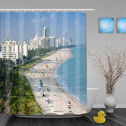 Duschvorhang Polyester 180X180Cm Miami Beach Bad Vorhang Father's Day GIF-1