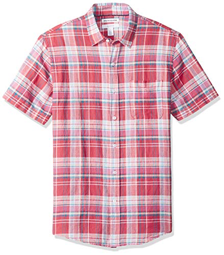 Amazon Essentials Leinenhemd Slim-Fit Kurzarm Herren  Gingham-Karo, Red Plaid,  M