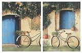 Cuadro de Madera Bici Antigua clásica. Placas de Madera. Set de 2 Cuadros de 19 cm x 25 cm x 4 mm unid. Adhesivo FÁCIL COLGADO. Adorno Decorativo. Decoración Pared hogar