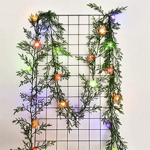 Christmas Lights Solar Light-String Simulation Green Leaf Cane LED Copper String Lights Christmas Decoration Lamp DIY Wreath